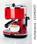 a red vintage looking espresso... | Shutterstock . vector #131981957