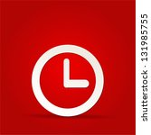 vector clock icon on red... | Shutterstock .eps vector #131985755
