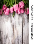 Pink Tulips Over Shabby White...