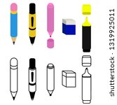 various drawing stationery ...   Shutterstock .eps vector #1319925011