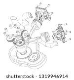 Disassembled Motorcycle Engine...