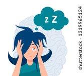 insomnia vector concept. tired... | Shutterstock .eps vector #1319965124