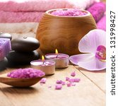 lavender spa set of salt stones ... | Shutterstock . vector #131998427