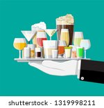alcohol drinks collection in... | Shutterstock .eps vector #1319998211