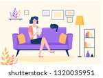 young woman in her color modern ... | Shutterstock .eps vector #1320035951