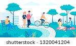 happy people walking and... | Shutterstock .eps vector #1320041204