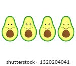 funny happy cute avocado ... | Shutterstock .eps vector #1320204041