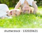 happy children standing upside... | Shutterstock . vector #132020621