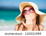 long haired girl in straw hat... | Shutterstock . vector #132021989