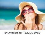 long haired girl in straw hat...   Shutterstock . vector #132021989