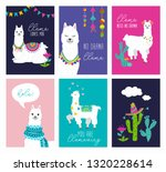 set of cute card with alpacas.... | Shutterstock .eps vector #1320228614