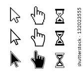 pixel cursors icons  mouse hand ... | Shutterstock . vector #132023555