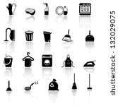Cleaning Icons Set   Black...