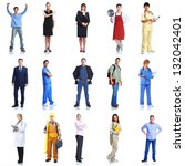 large group of smiling workers... | Shutterstock . vector #132042401