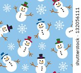 a seamless pattern of snowmen... | Shutterstock .eps vector #132056111