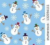 a seamless pattern of snowmen... | Shutterstock .eps vector #132056111