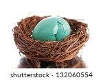Broken Robin\'s Egg In Nest On...