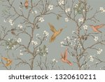 Stock photo colorful pattern with birds and flowers hummingbirds and flowers retro style floral backdrop 1320610211