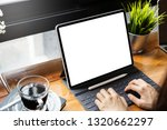 young freelance with a mockup... | Shutterstock . vector #1320662297