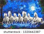 Stock photo white seven running horses on water textured background canvas oil painting 1320662387