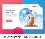 Stock vector landing page template of veterinary modern flat design concept of web page design for veterinarian 1320663821