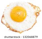 Fried Egg Isolated On White...
