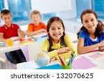 portrait of lovely classmates... | Shutterstock . vector #132070625