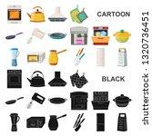 kitchen equipment cartoon icons ...   Shutterstock . vector #1320736451