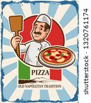 pizza italian with chef | Shutterstock .eps vector #1320761174