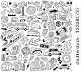 travel transportation   doodles ... | Shutterstock .eps vector #132081737