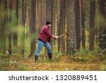 lumberjack with a beard in a... | Shutterstock . vector #1320889451