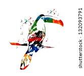 colorful vector toucan... | Shutterstock .eps vector #132093791