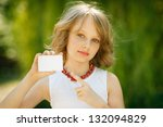 Girl Showing Blank Credit Card...