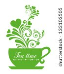 green tea. cup with floral... | Shutterstock .eps vector #132103505