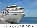 cruise tourist ship in black... | Shutterstock . vector #132103514
