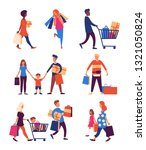 set of people carrying shopping ... | Shutterstock .eps vector #1321050824