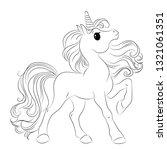 cute unicorn. black and white... | Shutterstock .eps vector #1321061351