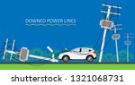 downed power line car vehicle... | Shutterstock .eps vector #1321068731