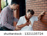 son trying to help his mother... | Shutterstock . vector #1321135724