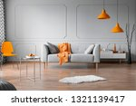 orange accents in grey living... | Shutterstock . vector #1321139417