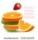 apples  orange and strawberry... | Shutterstock . vector #132116525