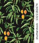 mango branches seamless pattern.... | Shutterstock .eps vector #1321182674