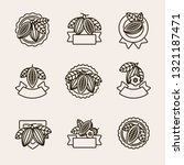 cacao beans label and icons set.... | Shutterstock .eps vector #1321187471