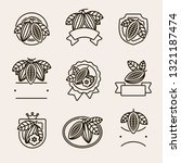 cacao beans label and icons set.... | Shutterstock .eps vector #1321187474