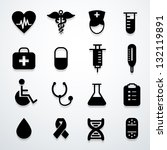 medical icons black vector | Shutterstock .eps vector #132119891