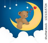 teddy bear happily sitting on...   Shutterstock .eps vector #1321315724