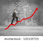 Businessman Rise On Chart And...
