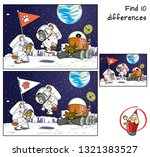 funny cats astronauts  flag and ... | Shutterstock .eps vector #1321383527