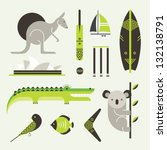 vector set of various stylized... | Shutterstock .eps vector #132138791