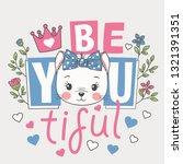 Stock vector cute cat girl face flowers crown beautiful slogan cartoon vector illustration design for t 1321391351